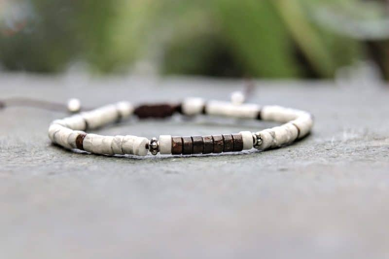 4mm Howlite and Bronzite beaded bracelet with sterling silver