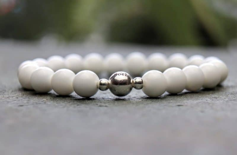 8mm Tridacna and Sterling Silver Beaded Bracelet
