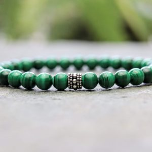 6mm Premium Malachite Beaded Bracelet
