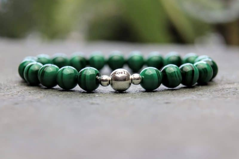 malachite and sterling silver bracelet