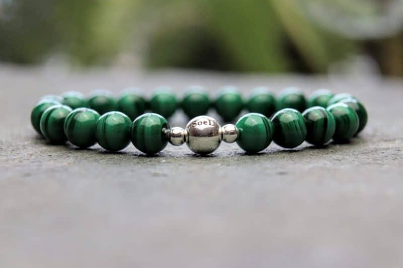 malachite and sterling silver bracelet