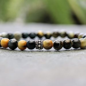 6mm Fancy Tigers Eye and Sterling Silver Beaded Bracelet