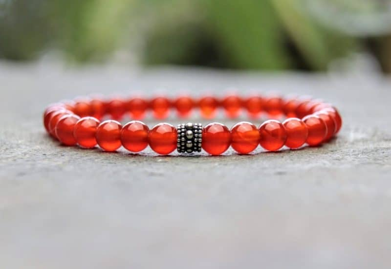 6mm red carnelian and sterling silver beaded bracelet