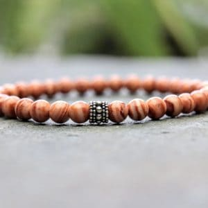 Red malachite beaded bracelet