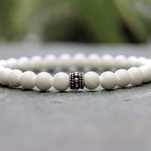 6mm Tridacna Pearl and sterling silver beaded bracelet