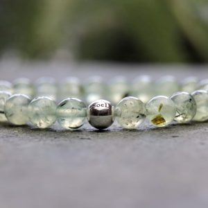 Grade A Prehnite and Sterling Silver Beaded Bracelet