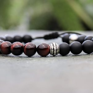 Red tigers eye, Onyx beaded bracelet
