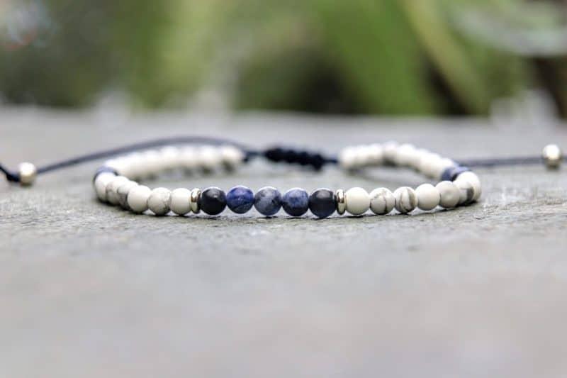 4mm slimline howlite and sodalite beaded bracelet with sterling silver