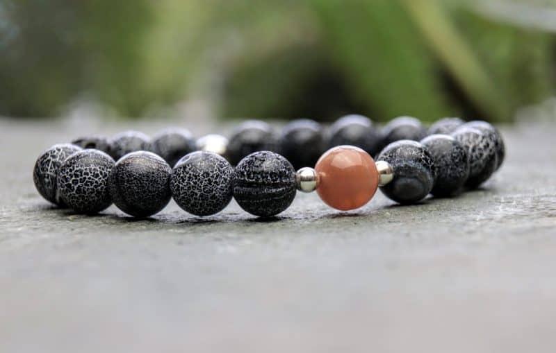 Black wind fossil agate and sunstone beaded bracelet