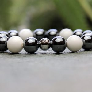 10mm Hematite and Tridacna Beaded Bracelet