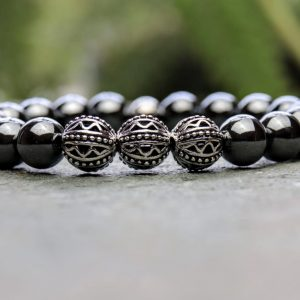 10mm Hematite and Tibetan Style Beaded Bracelet