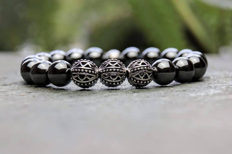 10mm Hematite and Tibetan Style Beaded Bracelet