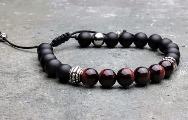 Red Tigers Eye and Onyx Tibetan Bracelet