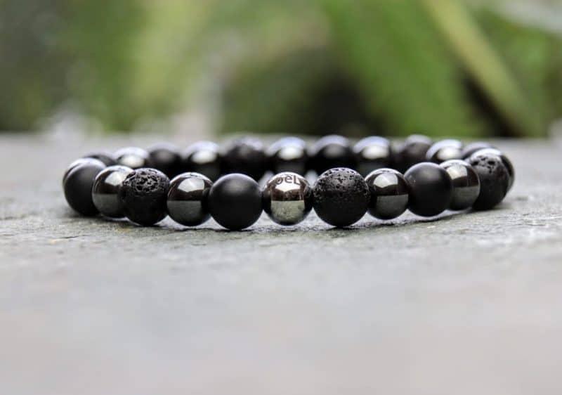 Onyx, Lava Stone and Hematite Diffuser Beaded Bracelet