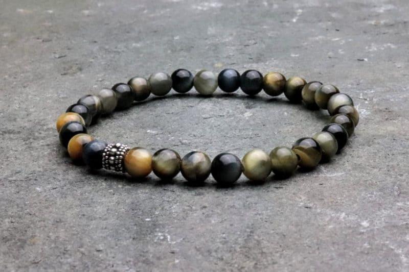 6mm fancy tigers eye and sterling silver beaded bracelet