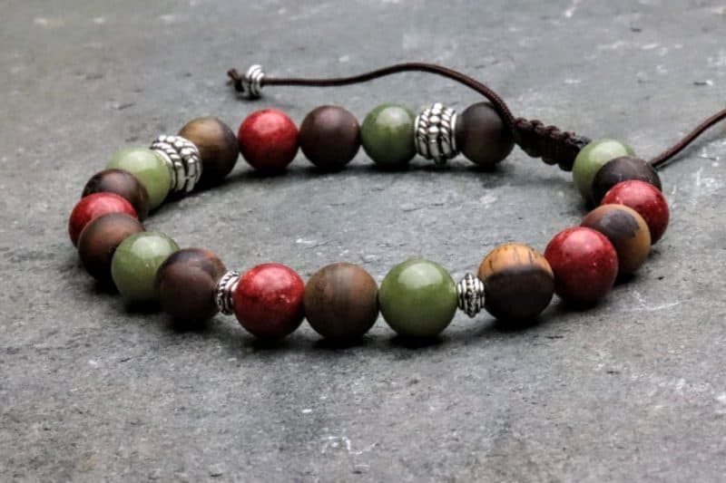 8mm Coral, Frosted Tigers Eye and Jade Tibetan style beaded bracelet