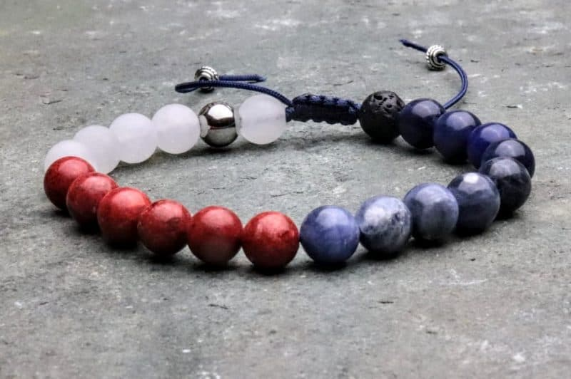 Red, white and blue diffuser beaded bracelet