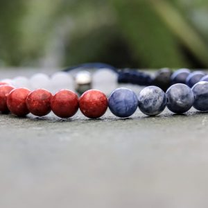 Sodalite, Coral and white jade Diffuser beaded bracelet