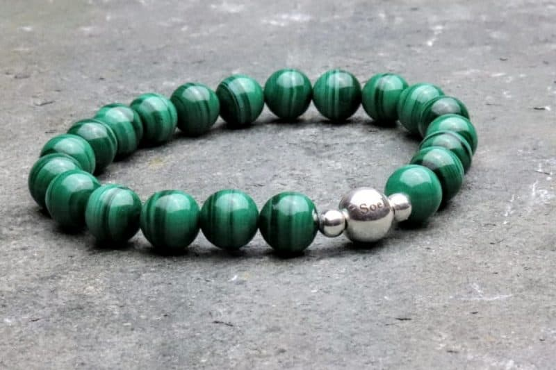 Malachite and Sterling Silver Bead Bracelet 8mm