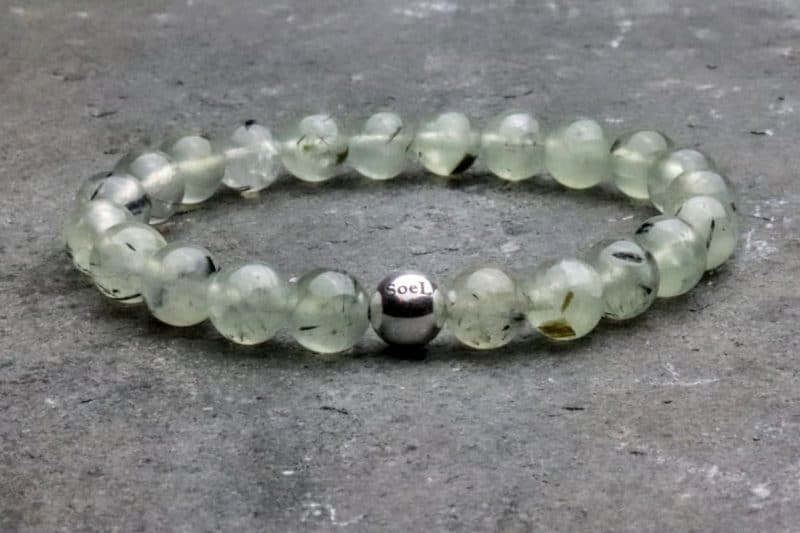 Grade 'A' Prehnite and Sterling Silver 8mm Beaded Bracelet