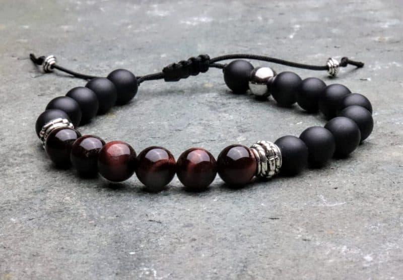 Red tigers eye and onyx Tibetan beaded bracelet