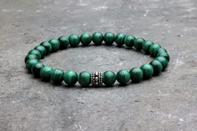 Premium Malachite and Sterling Silver Bracelet 6mm