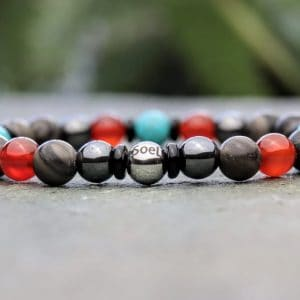 Wood grain jasper, turquoise, carnelian and hematite beaded bracelet