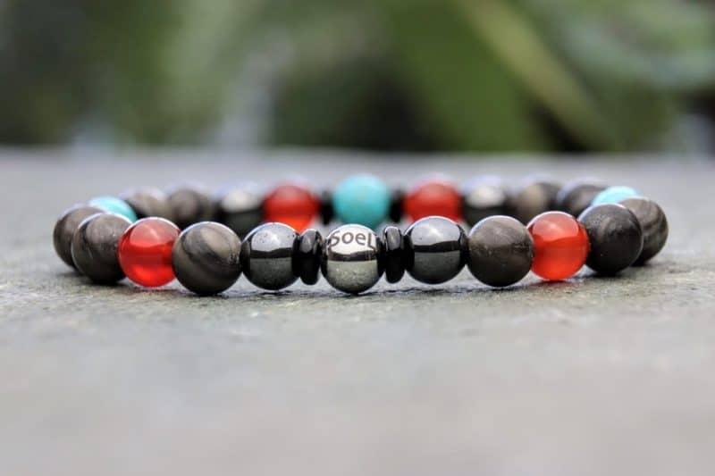 Wood grain jasper, turquoise, carnelian and hematite beaded bracelet