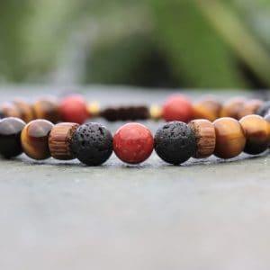 Palmwood, Tigers eye and coral beaded bracelet