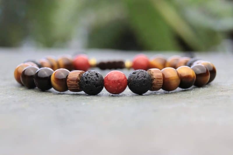 Palmwood, Tigers eye and coral beaded bracelet
