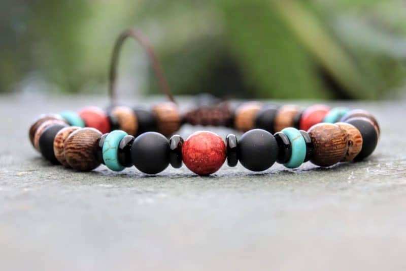 Onyx, Coral and turquoise beaded bracelet