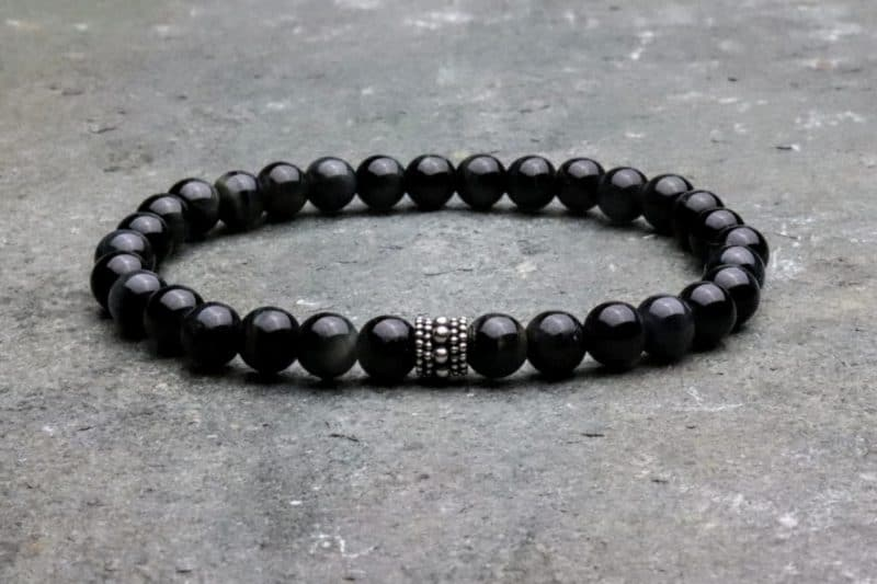 Blue Tigers Eye and Sterling Silver 6mm Beaded Bracelet