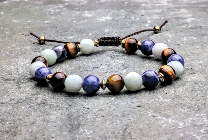 Tigers eye, Amazonite and Sodalite beaded bracelet