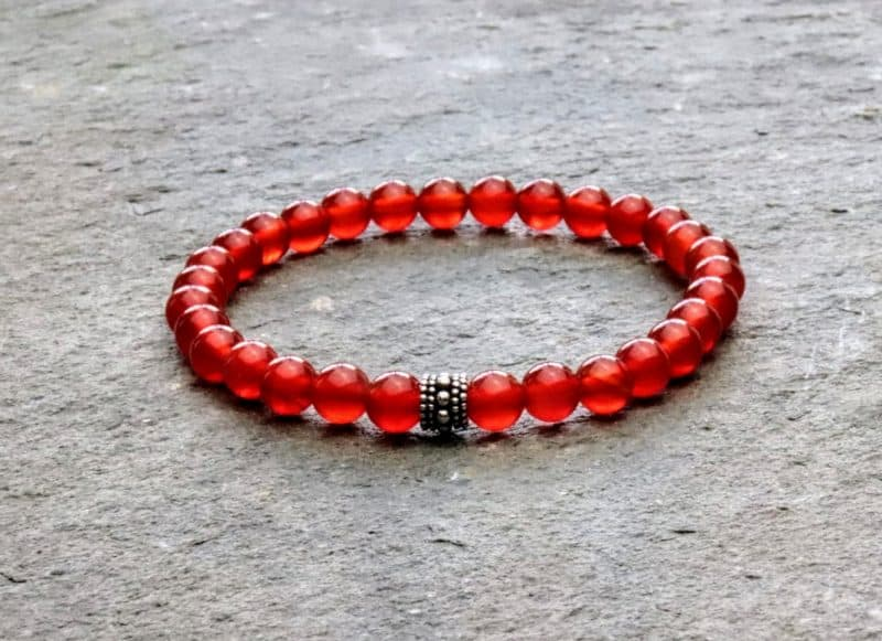 6mm Red Carnelian and Sterling Silver Bali Style Beaded Bracelet