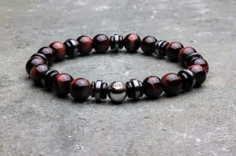 Premium Red Tigers Eye with Hematite and Onyx Beaded Bracelet