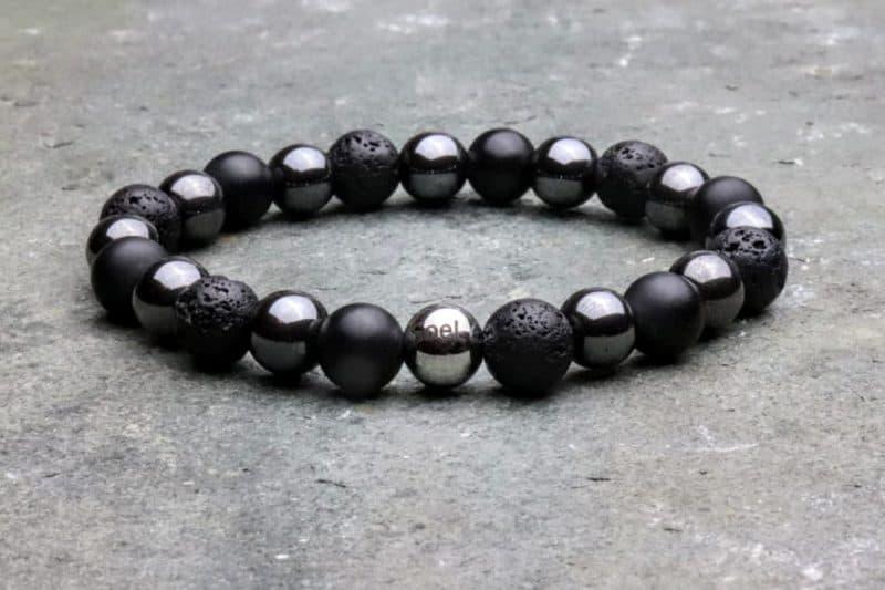 Beaded Diffuser Bracelet. Onyx, Hematite and Lava Stone