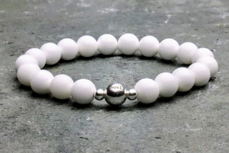 White Tridacna and Sterling Silver 8mm Beaded Bracelet