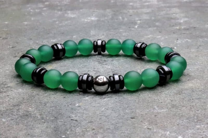 Premium Green Agate with Hematite and Onyx Beaded Bracelet
