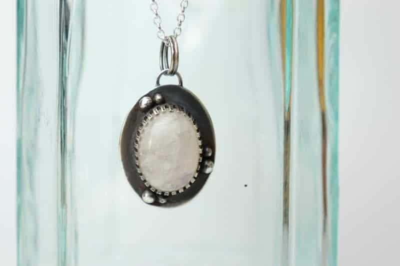 Moonstone and Sterling Silver Oval Hand Crafted Pendant